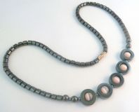 Hematite And Pink Cats Eye Bead Necklace.